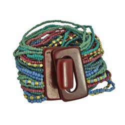 Bead Overload Bracelet Blue and Plum