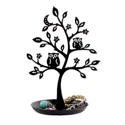 Black Owl Tree Jewelry Stand Cut out Metal (JUST RESTOCKED)