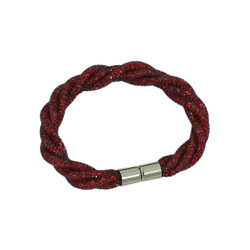 Twisted Diamond Illusion Bracelet Red and Silver