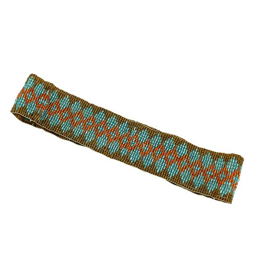Beaded Navaho Design Headband Brown and Teal