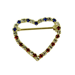 Patriotic Crystal Heart Silhouette Brooch