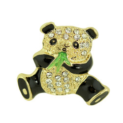 Crystal Panda with Bamboo Brooch