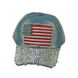 Retro American Flag Rhinestone Cap Denim Baseball Hat Light Blue
