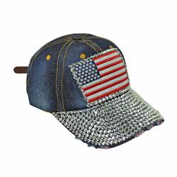 Retro American Flag Rhinestone Cap Denim Baseball Hat Dark Blue