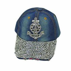 Anchor Rhinestone Baseball Cap Denim Hat Blue