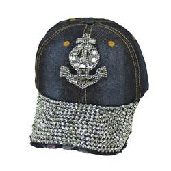 Anchor Rhinestone Baseball Cap Denim Hat Dark Blue