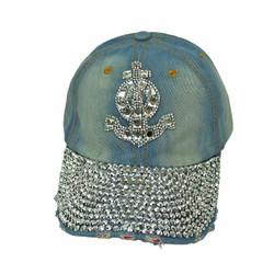 Anchor Rhinestone Baseball Cap Denim Hat Light Blue