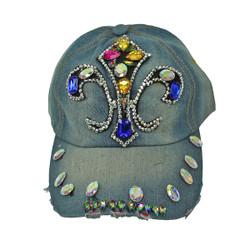 Fleur De Lis Rhinestone Baseball Cap Denim Hat Light Blue