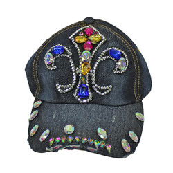 Fleur De Lis Rhinestone Baseball Cap Denim Hat Dark Blue