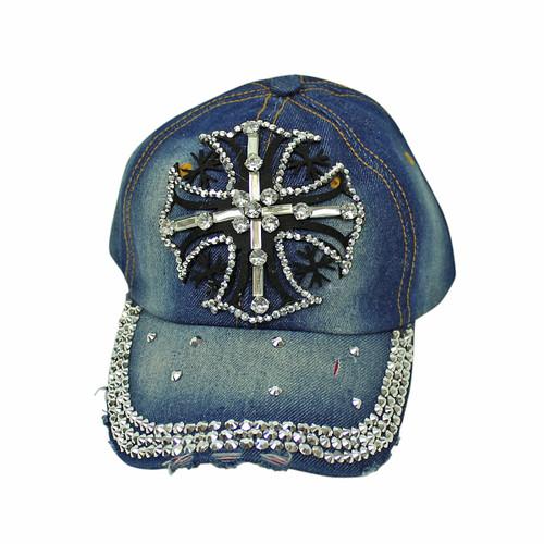 Cross Rhinestone Baseball Cap Denim Hat Blue