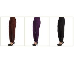 Pack of 3 Harem Pants with Pockets Black Brown Purple