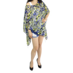 Paisley Wave Print Fringe Chiffon Caftan Top Yellow Blue Black