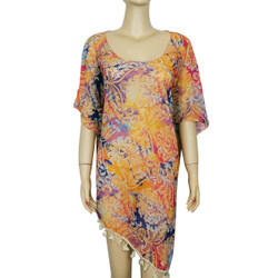 Floral Print Tassel Chiffon Caftan Top Orange Blue
