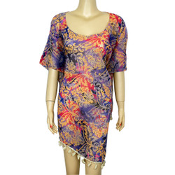 Floral Print Tassel Chiffon Caftan Top Pink Blue Orange