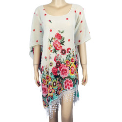 Floral Print Fringe Chiffon Caftan Top Off-White Mint Pink