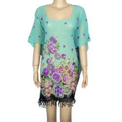Floral Print Fringe Chiffon Caftan Top Mint Purple Yellow