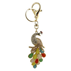 Colorful Rhinestone Peacock Keychain