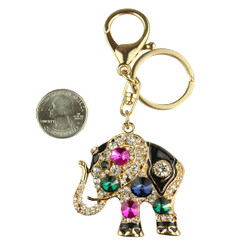 Sacred Elegant Elephant Purse Charm Keychain Fuchsia