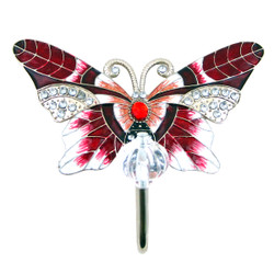 Butterfly Wall Hook Red Bejeweled