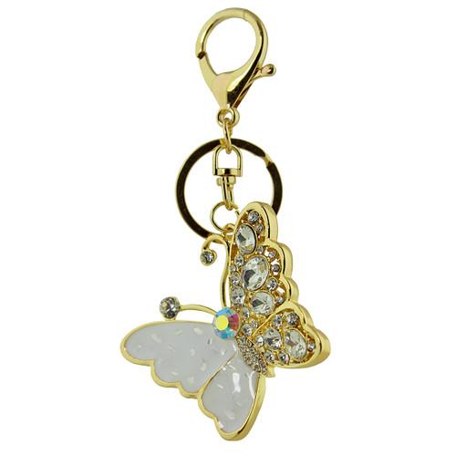 Majestic Crystal Butterfly Handbag Keychain Charm White