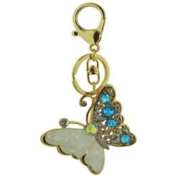 Majestic Crystal Butterfly Handbag Keychain Charm Blue