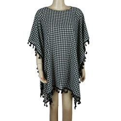 Houndstooth Kimono Tunic with Tassels Black and White