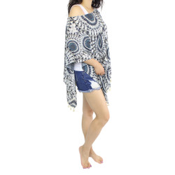 Mandala Print Caftan Chiffon Top with Tassels Blue-Grey