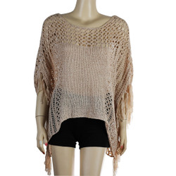 Crochet Fringe Poncho Top Peach