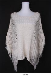 Crochet Fringe Poncho Top Beige