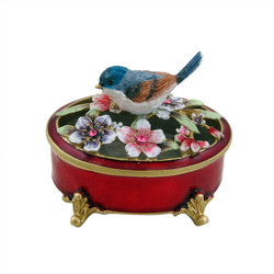 Blue Bird Oval Trinket Box Red