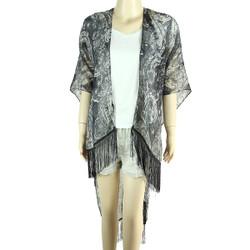 Chiffon Kimono Relic Print with Tassels Black