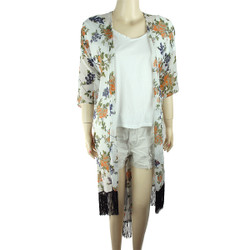 Chiffon Kimono Floral Print with Tassels Off White