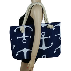 Anchor Canvas Large Tote Rope Handles Navy Blue