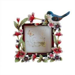 Blue Bird Floral Photo Frame Bejeweled 3x3
