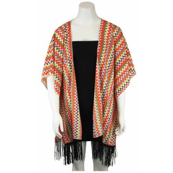 Chevron Kimono Tunic with Tassels Green and Red