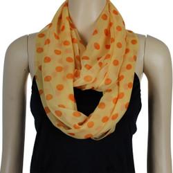 Polka Dot Silk Like Infinity Scarf Orange