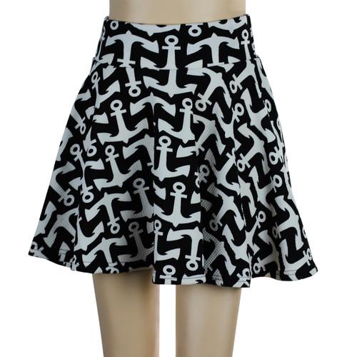 Anchor Short Skater Skirt Black and White