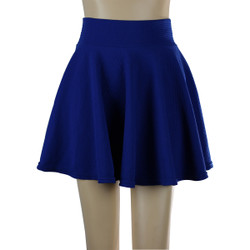 Solid Color Short Skater Skirt Royal Blue