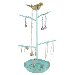 Gold Bird Jewelry Tree Stand Shabby Chic Blue (JUST RESTOCKED)