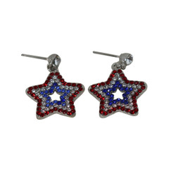 Patriotic Star Crystal Earrings Red White Blue
