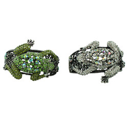 Large Tree Frog Crystal Bracelet Set of 2