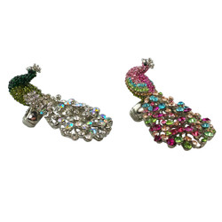 Oversize Peacock Ring Adjustable Ring Set of 2