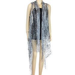 Confetti Wrap Sleeveless Kimono with Fringes Black and Silver