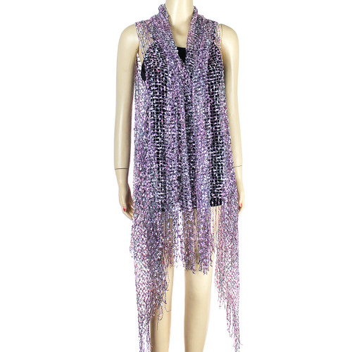 Confetti Wrap Sleeveless Kimono with Fringes Frosted Purple and Pink