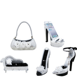 White Rose Shoe Couch Purse Ring Holders Cell Phone Holder Set of 5