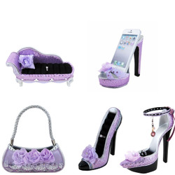 Lavender Rose Shoe Couch Purse Ring Holders Cell Phone Holder Set of 5