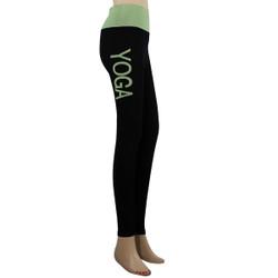 Yoga Leggings with 'YOGA' Woven Lettering Mint