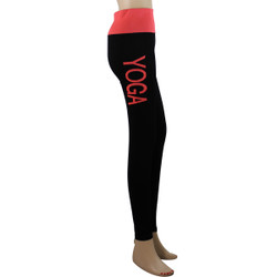 Yoga Leggings with 'YOGA' Woven Lettering Coral