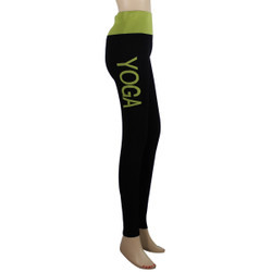 Yoga Leggings with 'YOGA' Woven Lettering Yellow-Green