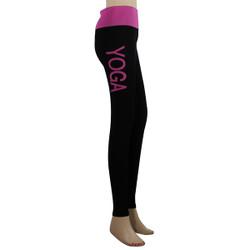 Yoga Leggings with 'YOGA' Woven Lettering Fuchsia